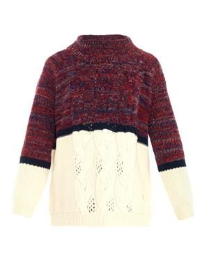 Bi-colour cable-knit sweater
