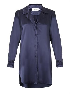 Frayed silk-satin shirt