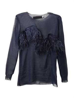 Ostrich-feather silk-chiffon blouse