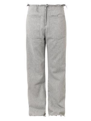 Frayed-edge low-slung boyfriend jeans