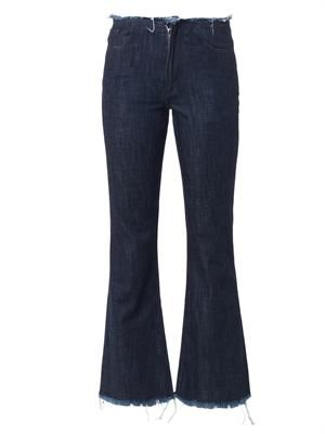 Cropped high-rise flared-leg jeans
