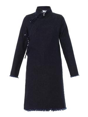 Mandarin-collar denim dress
