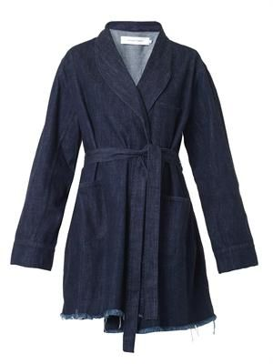 Wrap-around denim coat