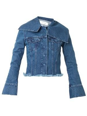Wide-collar denim jacket