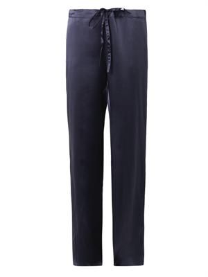 Straight-leg silk-satin trousers