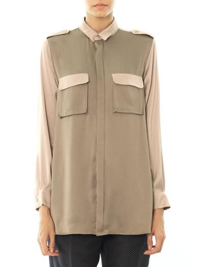 Ar Srpls Military bi-colour satin blouse