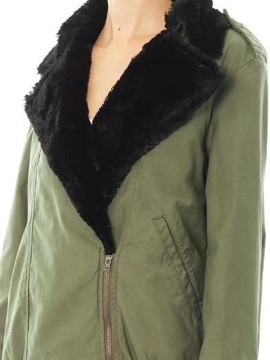 Ar Srpls Faux fur-lined drape jacket