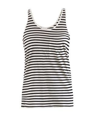 Swarovski-crystal embellished stripe tank top