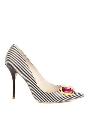 Lola striped leather pumps