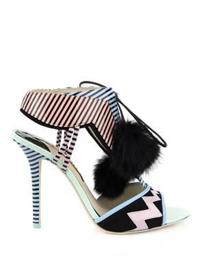 Leilou leather and fur sandals