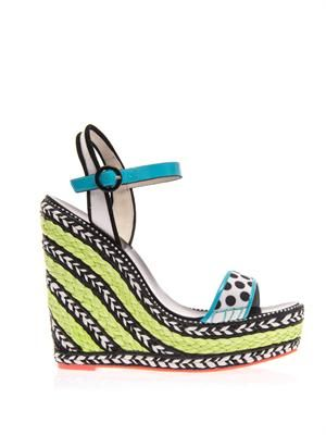 Lucita stripe and polka-dot wedge sandals