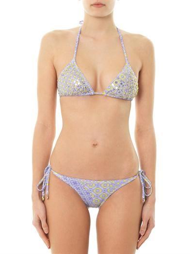 Ondademar Sequin embellished etheral-print bikini