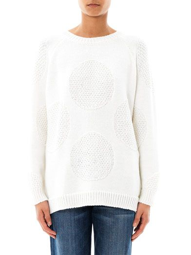 Chinti and Parker Meets Patternity Aran giant-dot knit sweater