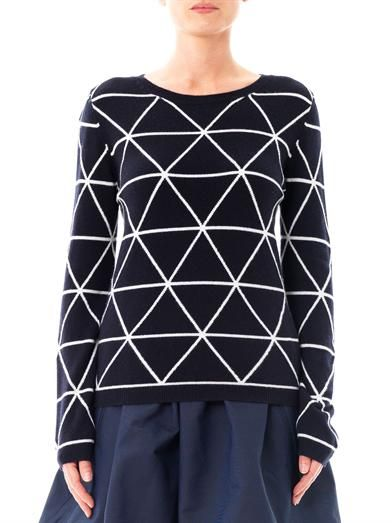 Chinti and Parker Meets Patternity triangle intarsia-knit sweater