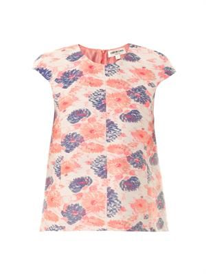 Mathola floral-jacquard top