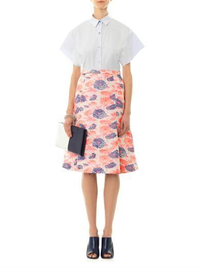 Eudon Choi Centaurea floral jacquard skirt