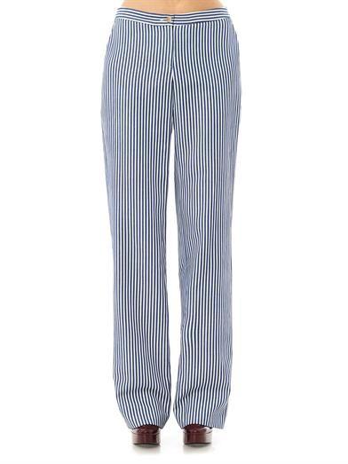 Eudon Choi Wide leg stripe trousers