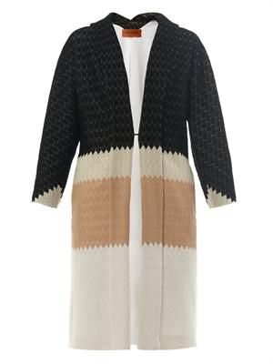 Tri-colour basketweave coat