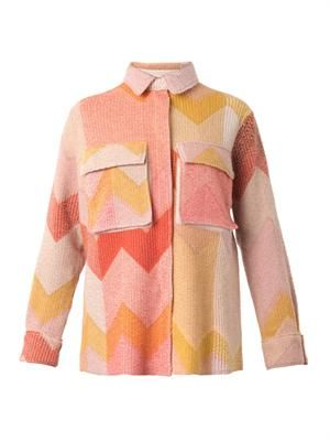 Chevron wool-blend jacket