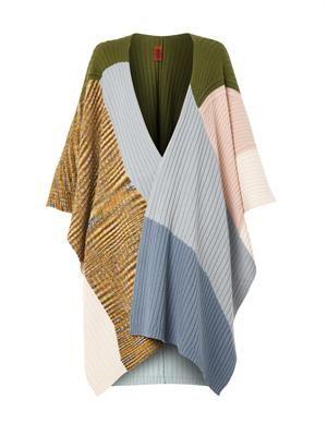Colour-block cashmere poncho