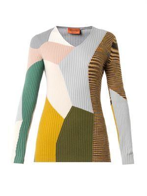 Colour-block cashmere sweater