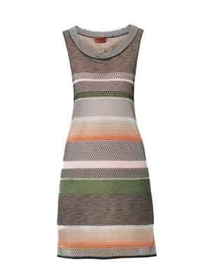 Multi-knit sleeveless dress