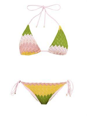 Chevron-knit bikini