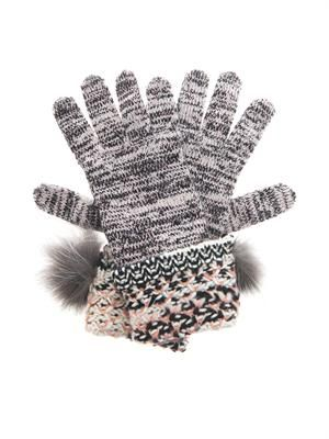 Fur-trim cashmere-blend gloves