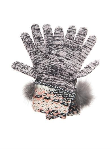 Missoni Fur-trim cashmere-blend gloves