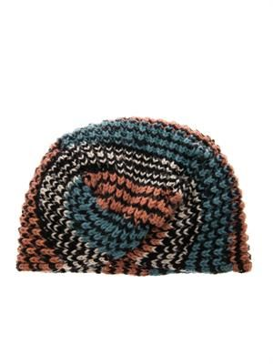 Chevron cashmere-knit turban