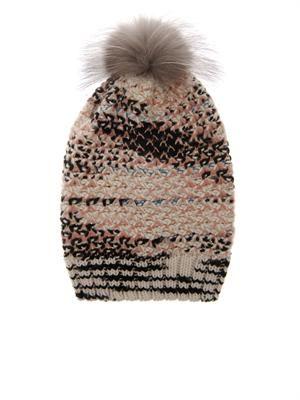 Fur-pompom cashmere-blend beanie