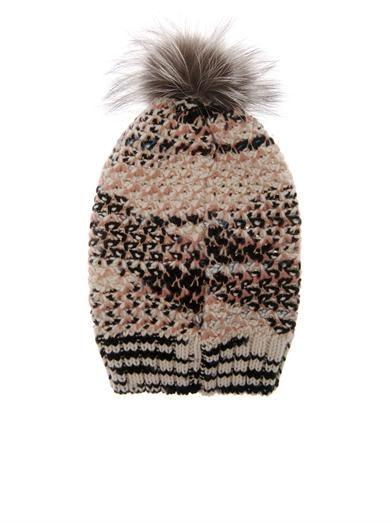 Missoni Fur-pompom cashmere-blend beanie
