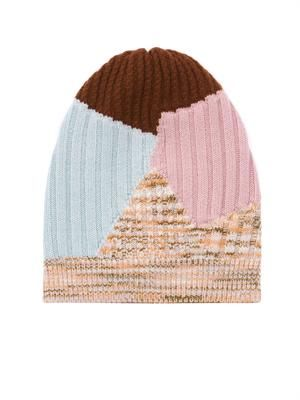 Colour-block cashmere beanie