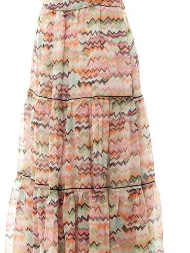 Missoni Multi zigzag-print silk maxi skirt