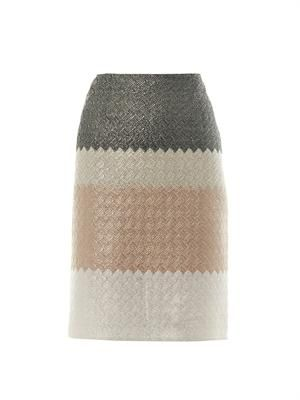 Tri-colour metallic basketweave skirt