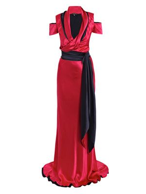 Double-crepe satin gown