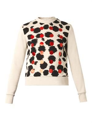 Cheetah and dot-print sweatshirt