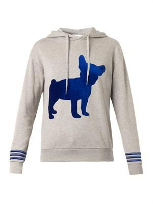 Big Dog-flocked hooded sweatshirt