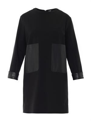 Leather pocket shift dress