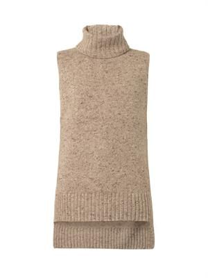 Sleeveless cashmere-blend sweater