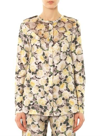 Adam Lippes Rose-print silk blouse