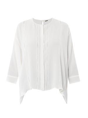 Oversize-stitch crepe blouse