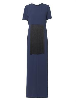 Fringe-embellished crepe gown