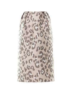 Leopard jacquard midi skirt