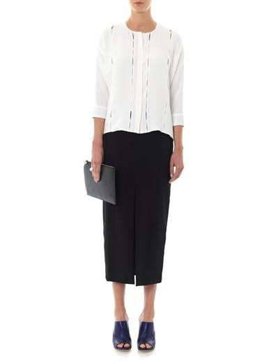 Adam Lippes Grosgrain-stripe midi pencil skirt