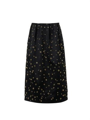 Eyelet-detail satin midi-skirt