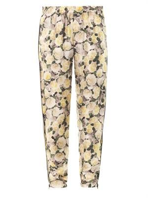 Rose-print silk trousers