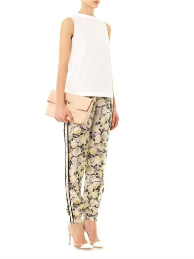 Adam Lippes Rose-print silk trousers