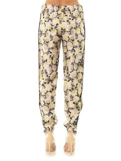 Adam Lippes Rose-print silk trousers