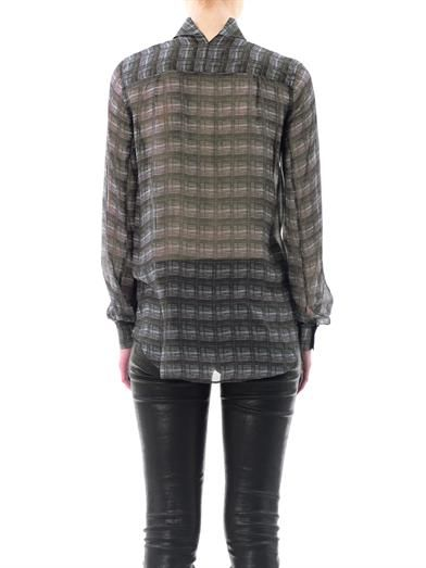 Theyskens' Theory Iarel sheer check blouse